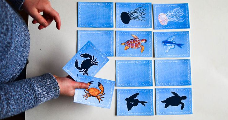 Printable memory game for kids that features 15species of different sea animals:American Lobster, Anglerfish, Banded Pipefish, Bull Shark, Common Bottlenose Dolphin, Clownfish, Compass Jellyfish, Dugong, Green Sea Turtle, Red Lionfish, Mottled Anemone, Nine-Armed Sea Star, Sperm Whale, Stone Crab & Two-Wing Flying Fish.