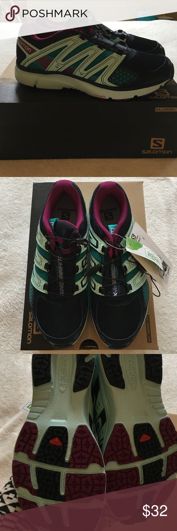 Salomon Running Shoes X-Mission 2 Style #L37332800 Blue/Mystic Purple quick lace running sneaker. NWT. Salomon Shoes Athletic Shoes