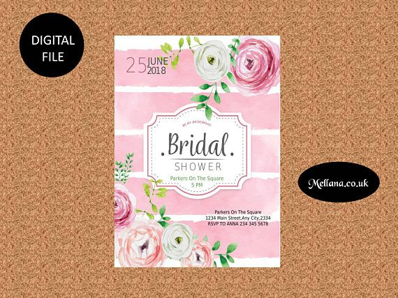 Bachelorette Card With Watercolor Flower-Be My Bridesmaid