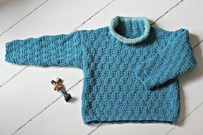 Sweateren strikker du i et lille nem strukturmønster, som beskrives i strikkeopskriften. Garnet er et mix af bomuld og akryl, som kan klare det meste og især at blive vasket igen og igen og ….. Sweater i strukturmønster Str. 1-2-3 år Det skal du bruge: 4-4-5 ngl Hjerte Soon (50 g pr. ngl) i bundfarven og 1 ngl eller en rest…