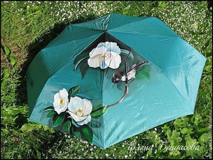 """Купить Зонт """"Магнолии"""" - бирюзовый, цветочный, зонт, зонт с росписью, зонт с рисунком, зонтик, магнолии"""