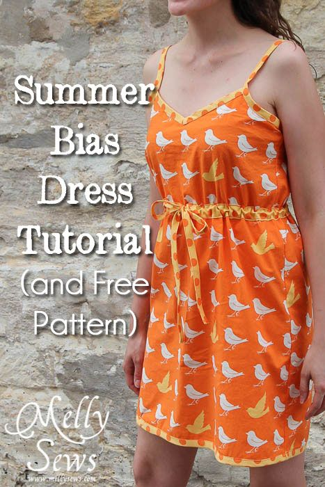Melissa from Melly Sews and Blank Slate Patterns shows how to make her Summer Bias Dress.  if you wear a women's size small (32-34″ bust), she's got a free pattern for you.   It's a knee-length cotton dress with a drawstring under the bust for shaping.  Contrast bias tape trims the edges and is used to make the thin, adjustable length straps.