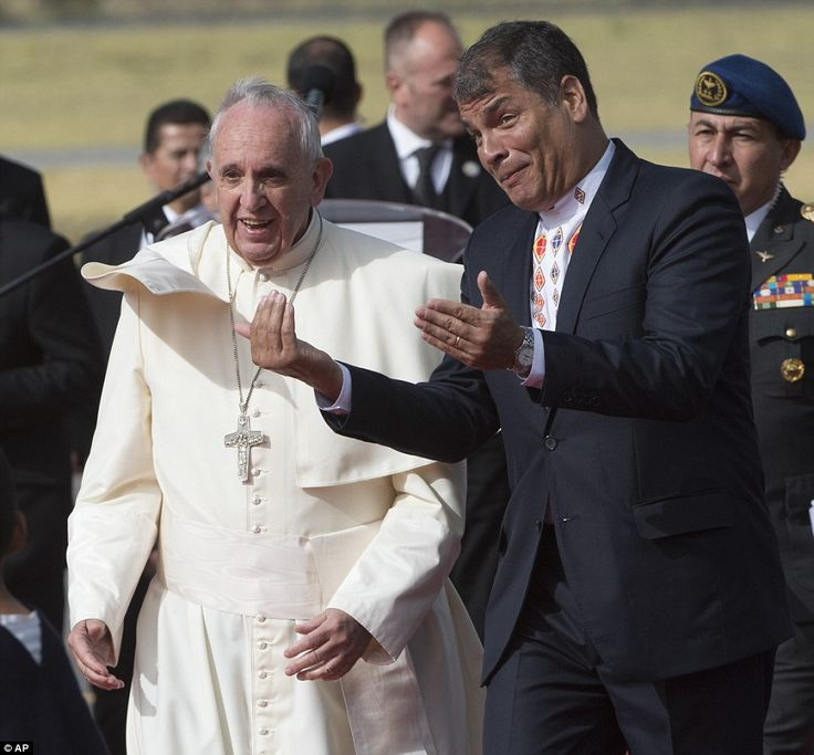 After holding mass in Guayquil, Pope Francis (centre) will head back to Quito (pictured yesterday) where he will have a meeting with President Rafael Correa (right)