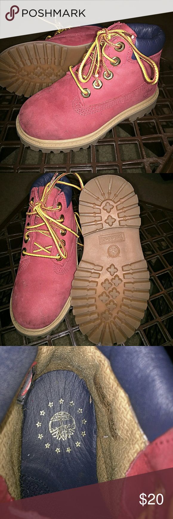 Adorable Red Timberland Boots Authentic Timberland boots. Red  and brown. Gently used one season. Timberland Shoes Boots