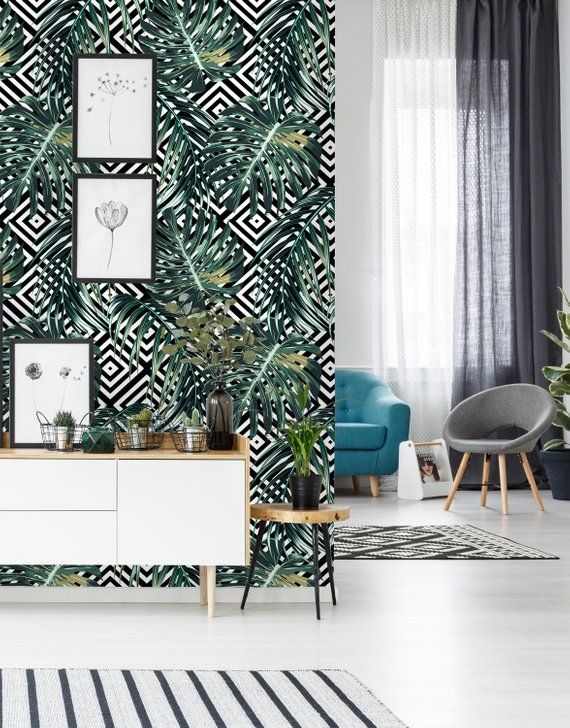 Removable Wallpaper Self Adhesive Wallpaper Geometric Tropical Etsy Removable Wallpaper Master Bedroom Makeover Self Adhesive Wallpaper
