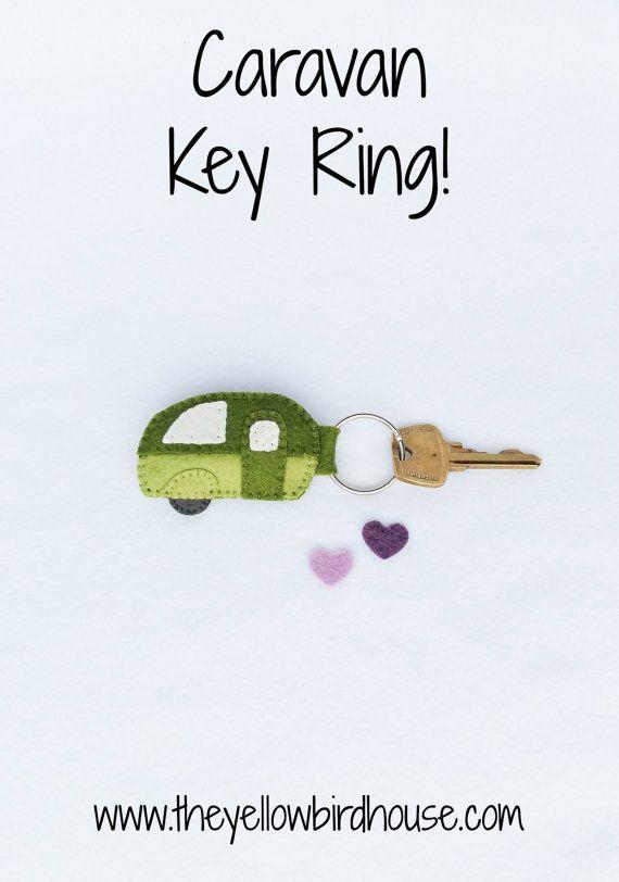 Caravan Key Ring. Retro Camper. Camper Zipper by YellowBirdhouse