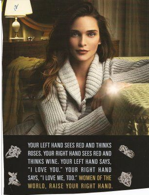 """Commodification of Women's Independence: The """"Right Hand Ring"""" (click thru for analysis)"""