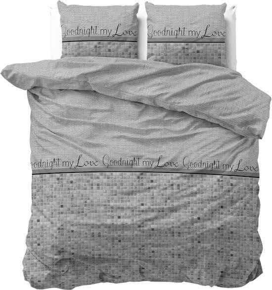 Sleeptime Katoen Goodnight my Love - Dekbedovertrekset - Lits-Jumeaux - 240x200/220 + 2 kussenslopen 60x70 - Grijs
