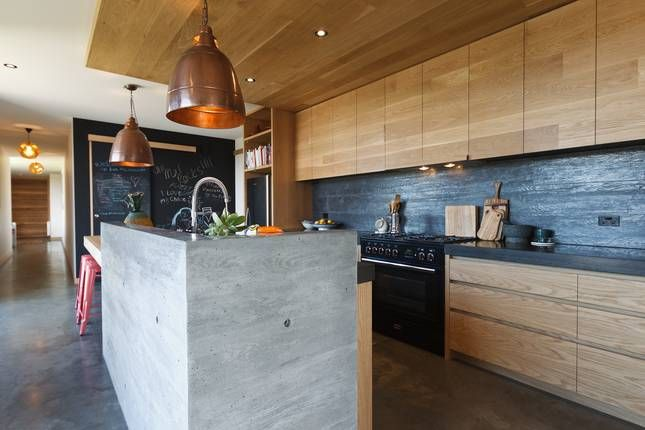 timber kitchen + concrete