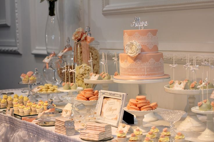 Peach themed candy & dessert buffet