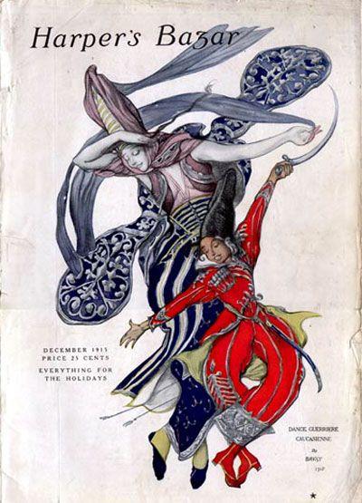 """Harper's Bazar 1915-12 Artist: Leon Bakst  Two dancers in elaborate costumes, doing """"Dance Guerrière Caucausienne"""""""