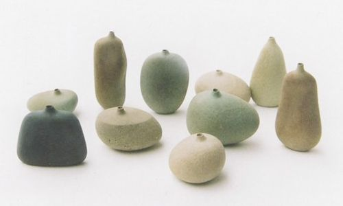 seastones // mitsuru koga: Mitsuru Koga, Seaston Work, Gifts Ideas, Stones Vase, Ceramics, Object, Tiny Vase, Sea Stones, Flowers Vase
