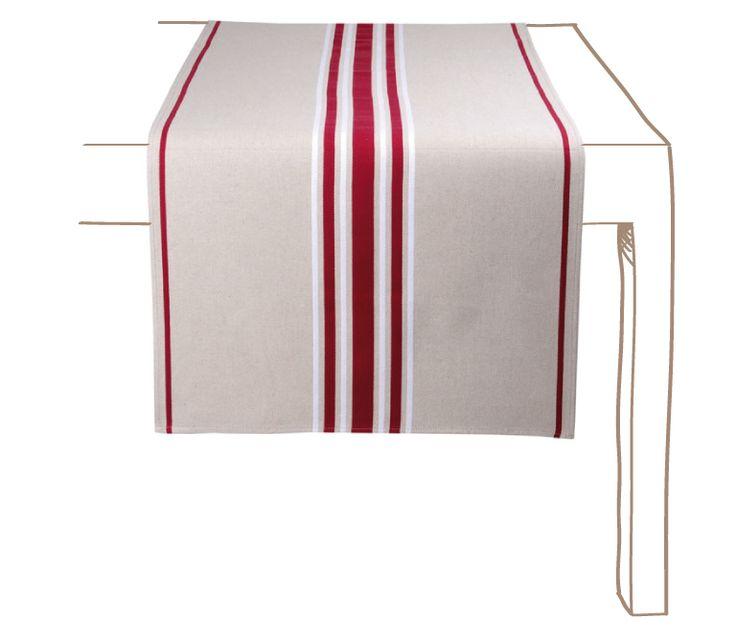 Jeté+de+table+Corda+Métis+Bordeaux+/+Blanc++Les+jetés+de+table+Corda+métis+Bordeaux+/+Blanc+ou+chemins+de+table+sont+en+tissu+70%+coton+-+30%+lin+et+ont+pour+dimensions+155+x+54cm.+Ils+peuvent+être+utilisés+comme+chemin+de+table,+centre+de+table,+comme+tête+à+tête+ou+sur+une+table+basse.