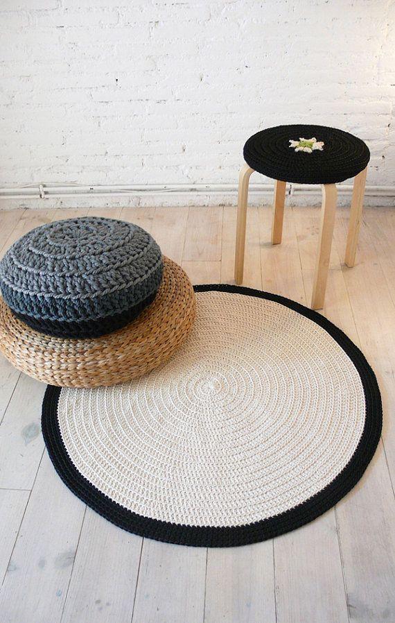 Round Rug floor crochet 90cm by lacasadecoto on Etsy