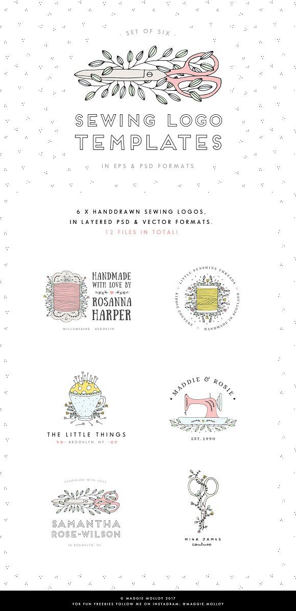 Sewing Logo Templates by Maggie Molloy on @creativemarket https://crmrkt.com/wPXzW5