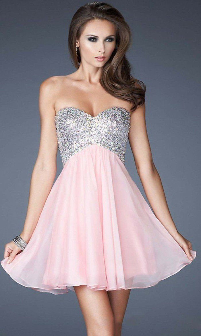 Robe cocktail bustier corail
