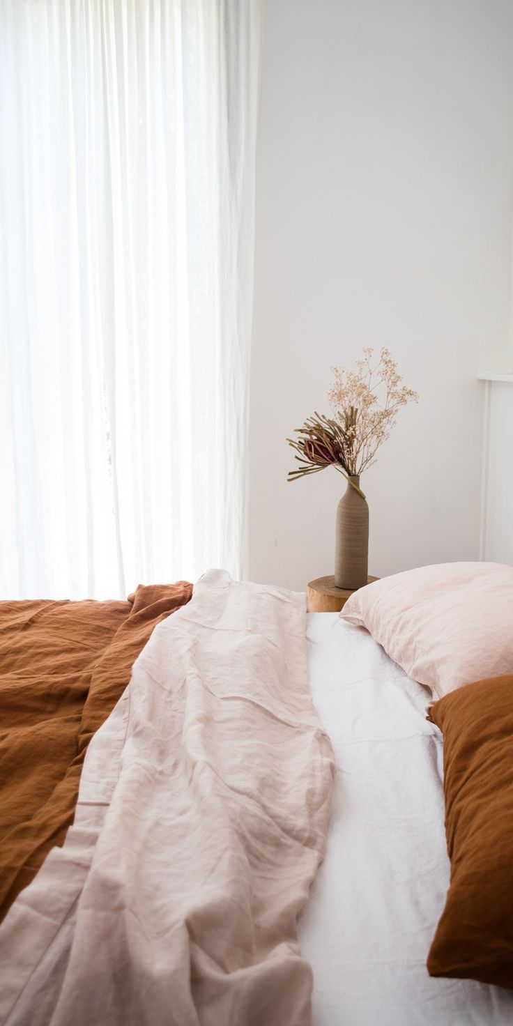 Earthy and feminine, we love our Blush and Ochre linen bedding paired together. #INSPIRE | home.