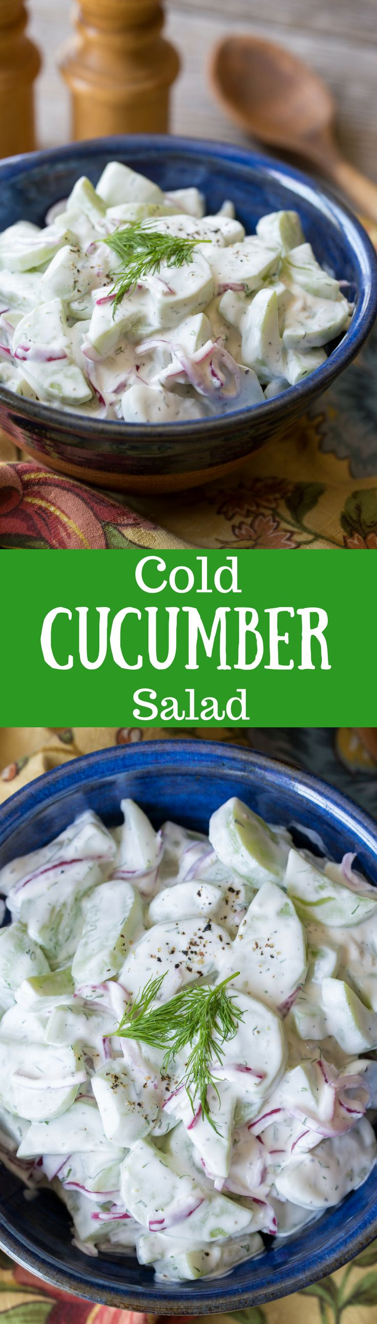 Fresh from the garden - crispy, Cold Cucumber Salad with fresh dill ~ a delicious salad made with a just a few fresh ingredients. Think creamy dill pickle!  www.savingdessert.com