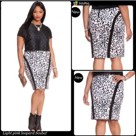 HP 3/6 & 7 PINK LEOPARD PENCIL SKIRT This skirt is very flattering and I love the pink animal print! Color block lines add length to your thighs. Very chic and a different spin on the traditional pencil skirt. Please see 3rd pic for complete description. PLEASE DO NOT BUY THIS LISTING! I will personalize one for you. Eloquii Skirts Pencil