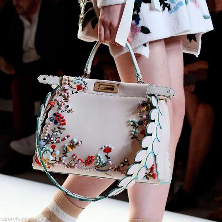 <b>Women Handbag Luxury</b> Rivet Floral Embroidery Leather Peekaboo ...