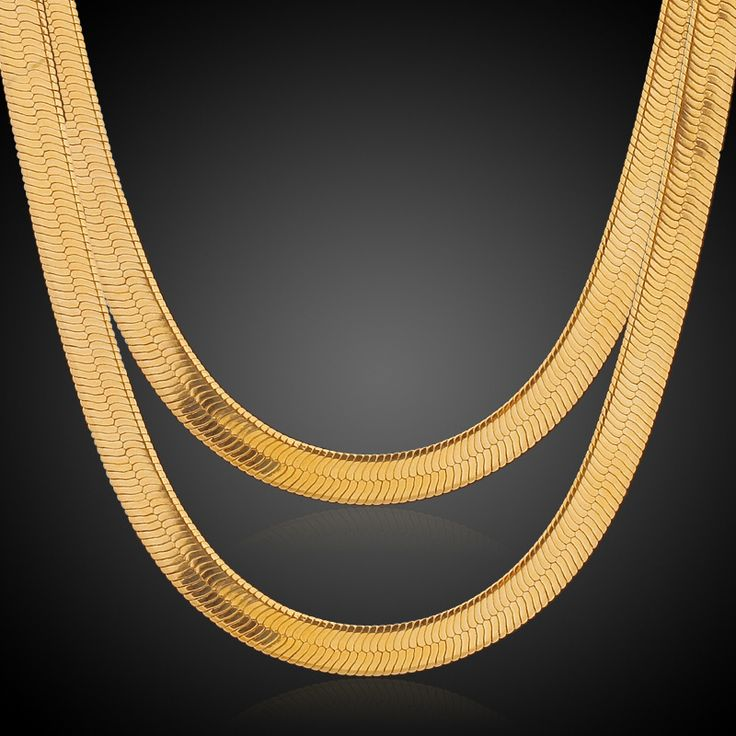 Yellow Gold Plated Herringbone Snake Chain Necklace Punk Hip-hop Male Jewelry Gold Chain For Men 5 Sizes