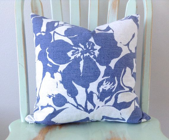 Decorative Pillow Cover. Kaufman Graphic Floral in Periwinkle Blue. Throw Pillow Cover. Pillow ...