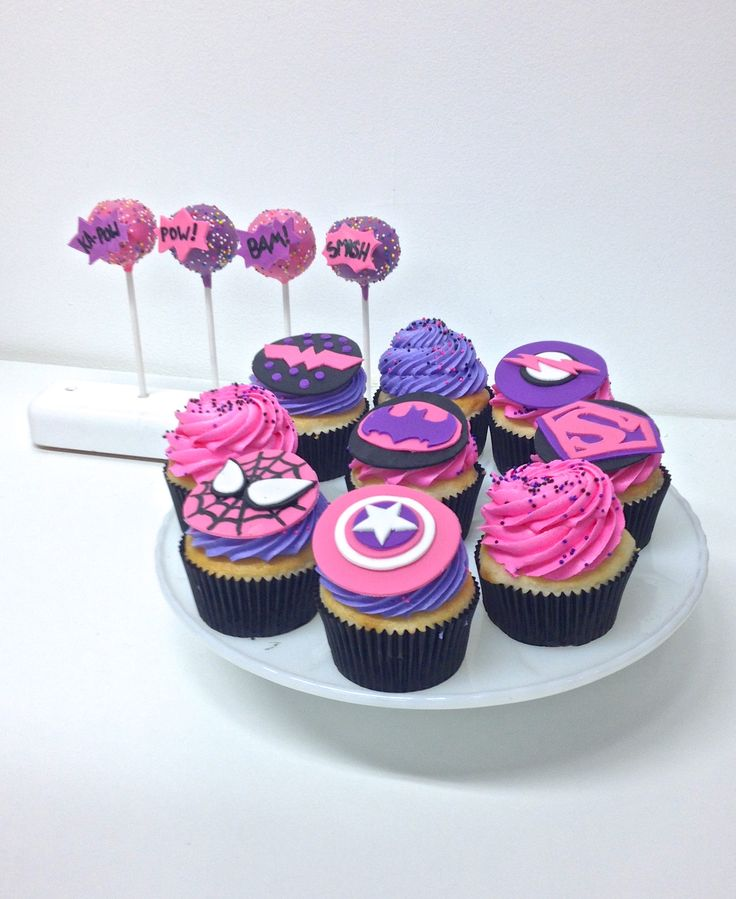 Girly Superhero Party Cupcakes & Cake Pops // NashvilleSweets.com