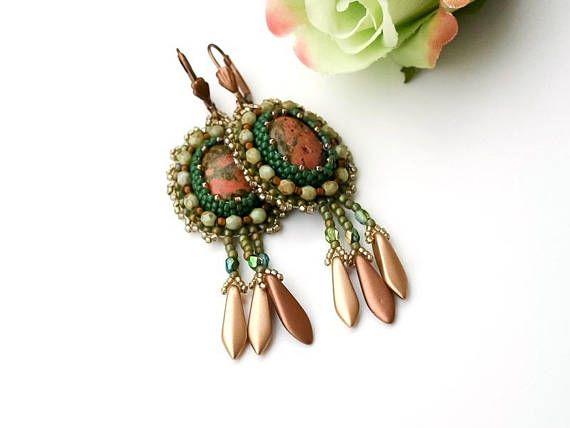 Earth ton bead embroidery earrings for women seed bead
