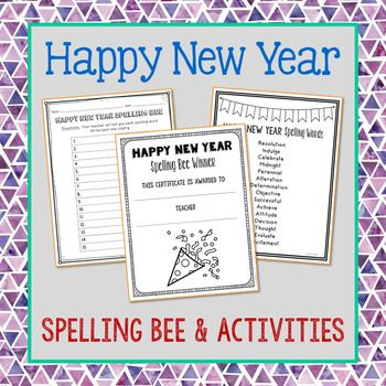 Make spelling fun with this Happy New Year themed spelling list, vocabulary activities, class spelling bee class game, and winner(s) certificate. This mini-unit includes a spelling bee form, winner certificate, no-prep practice games, generic spelling activities, and a New Year themed list.