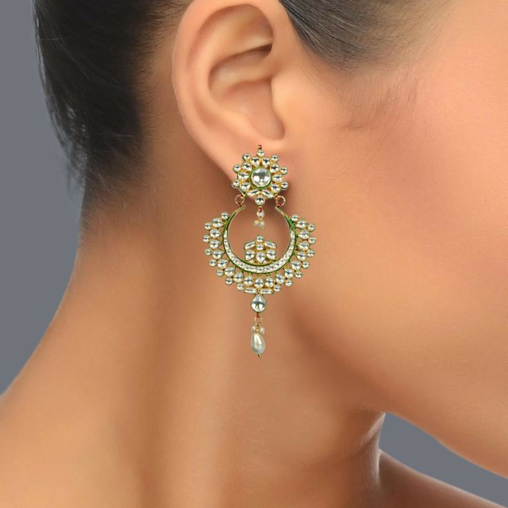 Featuring this beautiful Chand Bali Earrings with kundan and Meenakari in our wide range of earrings. Grab yourself one. Now!