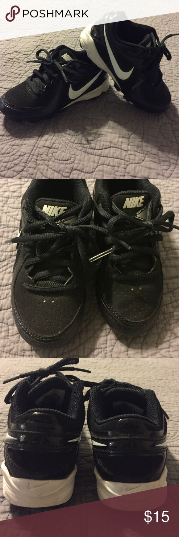Toddler Nike baseball football cleats size 10 Nike toddler baseball or football cleats in great condition. Show no signs of wear except for a little clay staining on the soles. Don't forget, Nike fit a little snug so these are probably more suitable for a size 9/9 1/2 although they're marked as size 10. Nike Shoes