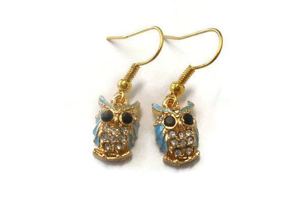 Owl Earrings Cute Diamante Owl Charms Bird of Prey Dangle