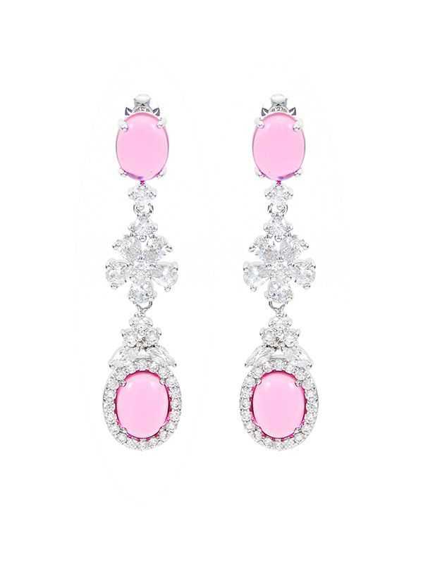 Teemtry wholesale white flower and pink oval cubic zirconia dangle earrings