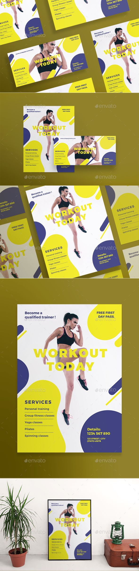 Workout Flyers A pack of minimal, clean and professional flyers (US, Letter, DL and A5 formats) and posters (420x594 mm and 18x24 in US format). Easy to use and customize, with modern design �20universal and thematically specific ones. Flyer templates are excellent for promotion, invitation, beauty, fashion, business, restaurant, nightclubs and all kind of events.