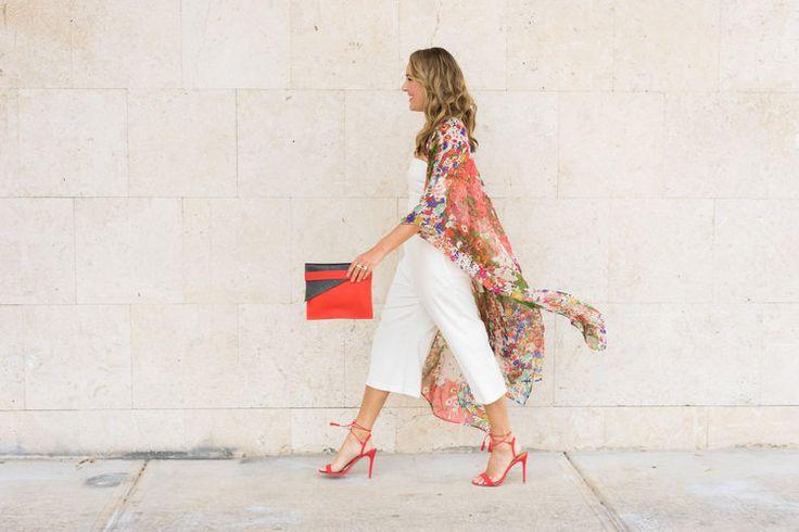 Kimono cardigan, white jumpsuit, red heels, Deux Mains fair trade clutch