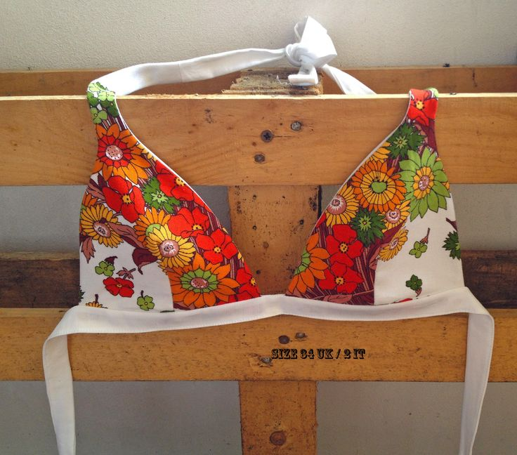 Triangle bra top with floral motif made of upcycled vintage round tablecloth. Original design inspired by the Summer of love. FoxInTheDesert