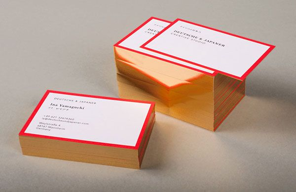 Deutsche & Japaner - Business cards based on the colors of Japanese and German national flags.