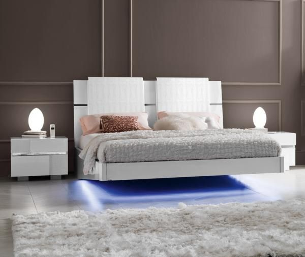 Caprice Modern High Gloss Bed With A Padded Headboard And