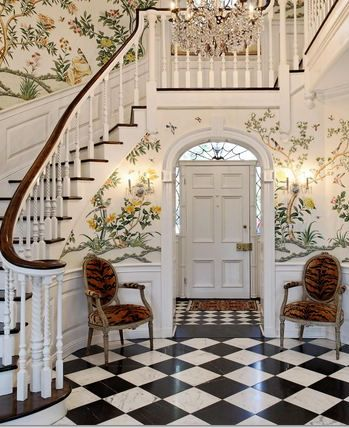 Lovely staircase and wallpaper - make this in a dollhouse or room box