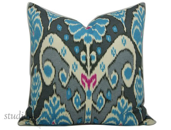 Decorative Pillow Cover - Ikat Pillow - SALE - 20 inch - Gray and Blue…