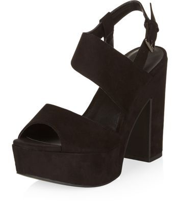 Wide Fit Black Chunky Ankle Strap Block Heels