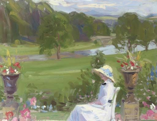 Francis Campbell Boileau Cadell, Jean Cadell at Dalserf, seated in a white dress
