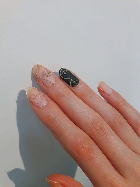 Abstract Face Nail Art Minimalist Nails Minimalist Nail Art Beautiful Nails