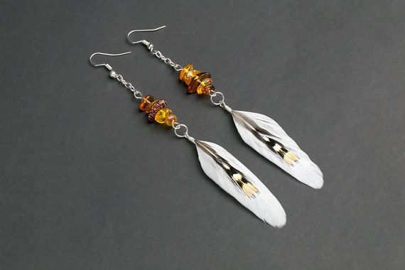Feather earrings with natural Baltic amber: natural feather earrings, boho earrings, white feathers, hippie, tribal, indian earrings, silver
