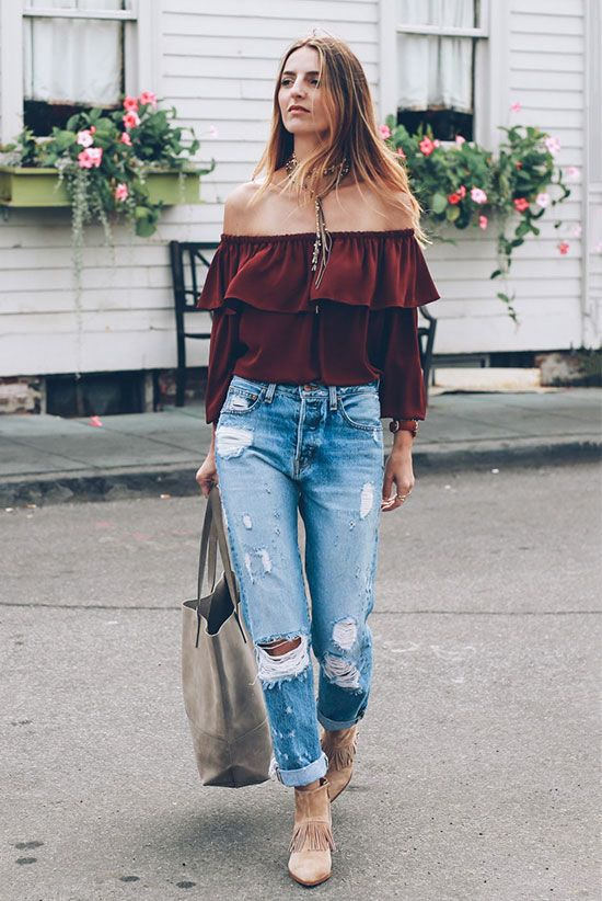 spring outfit, fall outfit, boho outfit, boho chic outfit, comfy outfit, casual outfit, festival outfit - burgundy off the shoulder top, distressed crop jeans, beige fringe booties, grey tote bag