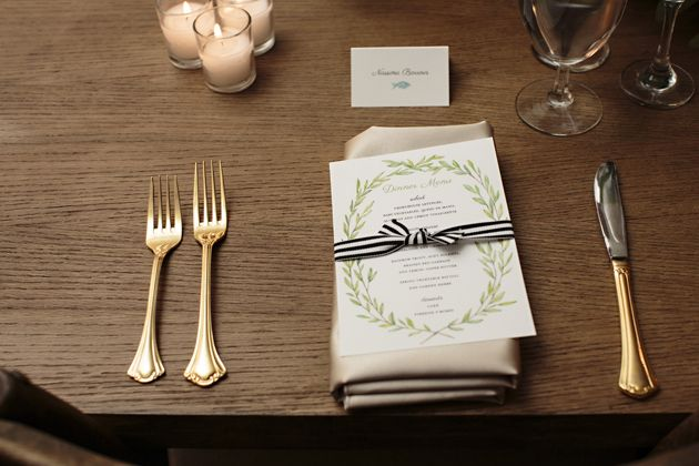 Farm to Table Colorado Wedding | Greenery Wreath Menu with Black and white stripped ribbon | Lana's Shop