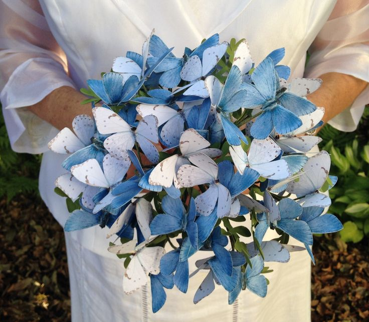 Blue and White Paper Butterfly Bouquet, Butterfly Bouquet,Butterfly Wedding, Wedding Decoration, Table Decoration, Boho Wedding Decor by ScissorFish on Etsy https://www.etsy.com/au/listing/450431210/blue-and-white-paper-butterfly-bouquet
