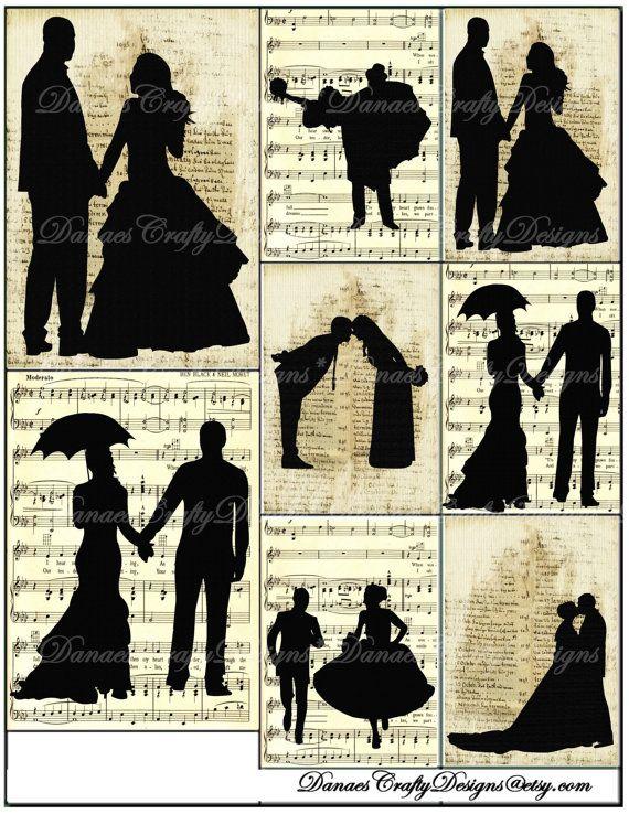 Vintage Wedding Silhouette Collage Sheet  by DanaesCraftyDesigns, $3.00