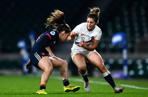 Amy Wilson Hardy of England (R) takes on Elodie Guiglion of France (L) during the Women's Six Nations match between England and France at Twickenham Stadium on February 4, 2017 in London, England.