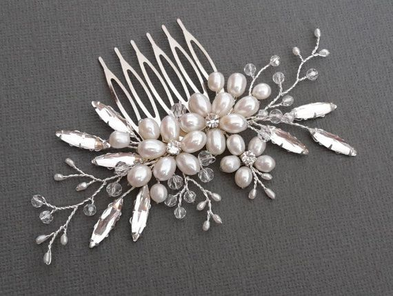 Bridal hair comb Crystal hair comb floral wedding comb by ZTetyana